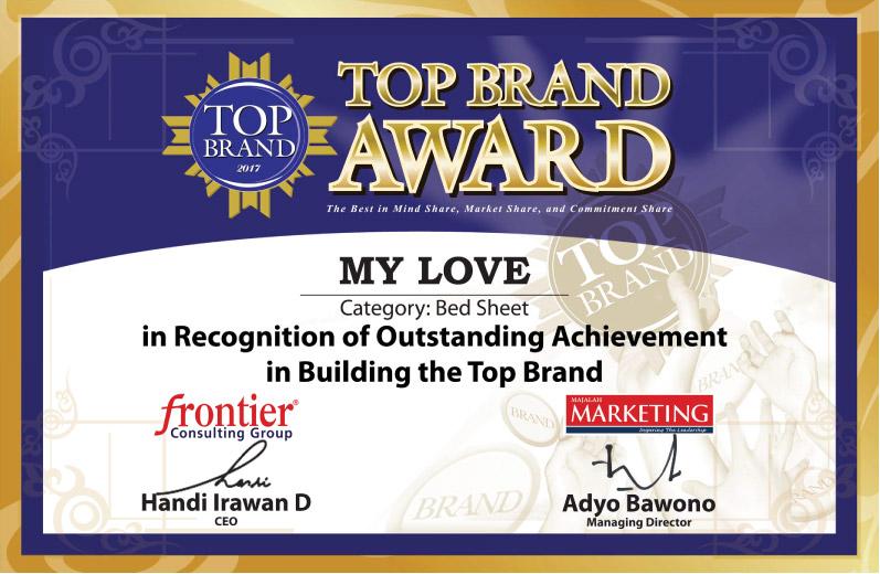 Sprei My Love Telah Mendapatkan Penghargaan Top Brand 5x Periode 2014    2018 Untuk Kategori Sprei   Perlengkapan Tempat Tidur.